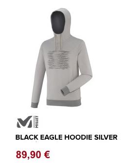 black eagle hoodie silver