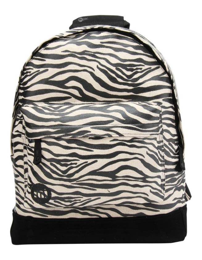 premium canvas zebra backpack black:white
