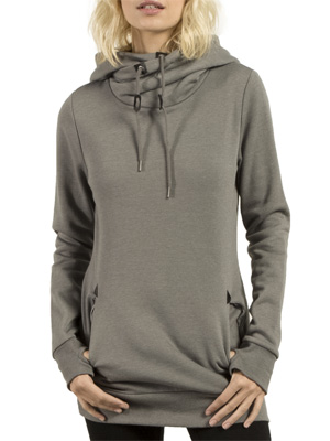 sweat long femme Volcom Walk on by High Neck Charcoal, avec son col montant