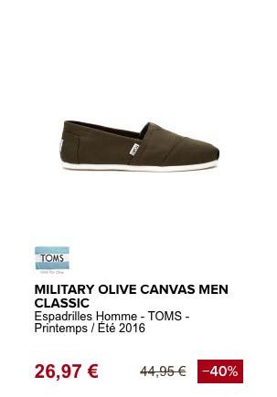 tom's military olive espadrille de plage
