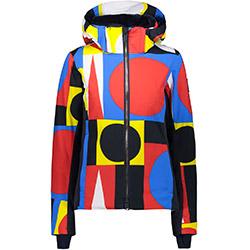 Visuel Woman Jacket Zip Hood B Blue Ferrari Yellow CMP